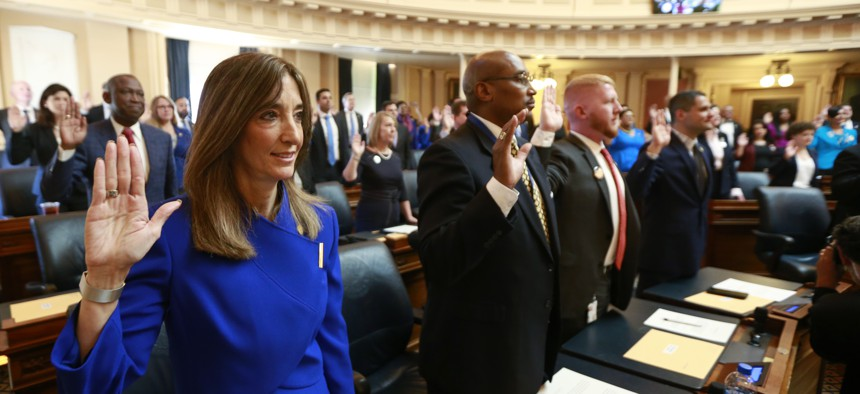 Virginia House Speaker Eileen Filler-Corn, a Democrat, takes the oath of office during opening ceremonies of the 2020 Virginia General Assembly. She is the first woman to hold that position.