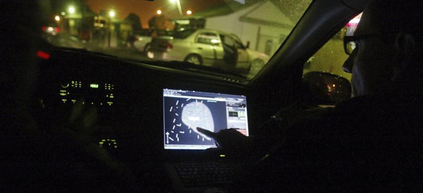 Police receive a radius map after a Shotspotter gunshot alert.