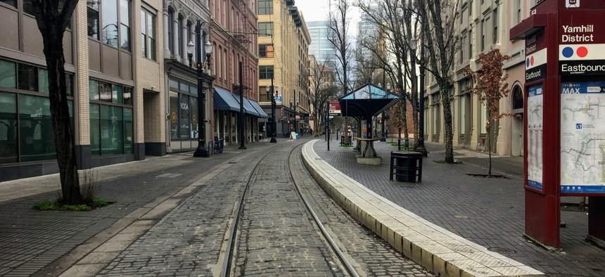 Portland's streets are empty.