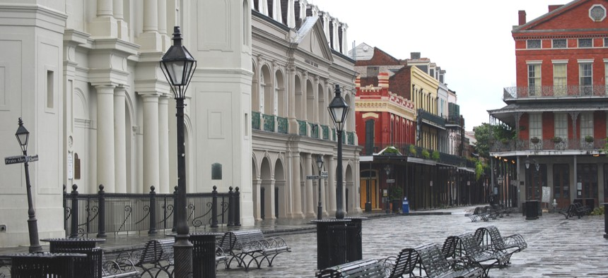 An empty Jackson Square in New Orleans.
