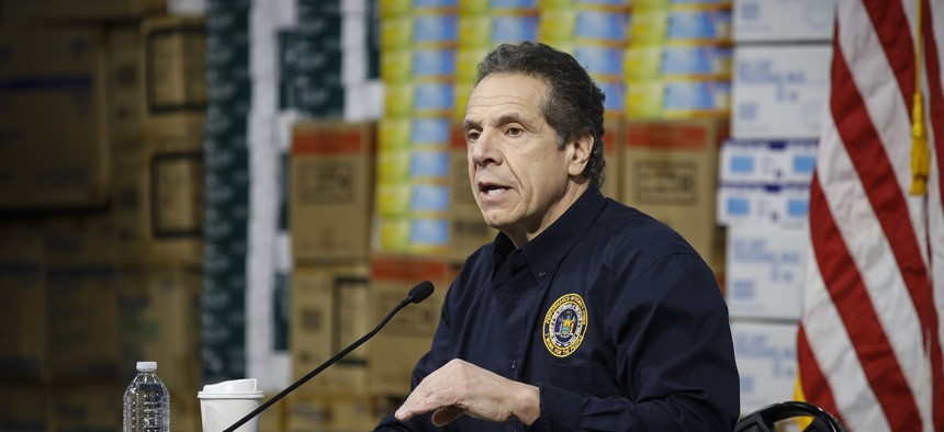 New York Gov. Andrew Cuomo whose brash, empathetic style has become a model for crisis communication speaks at a news conference about the state's coronavirus response efforts.