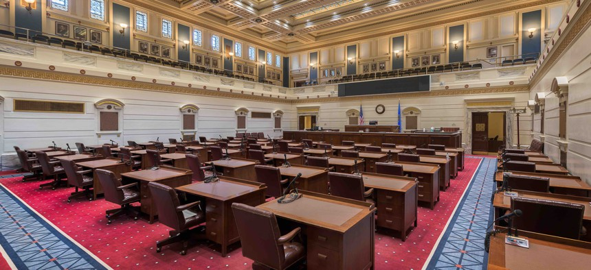 An empty Senate chamber in the Oklahoma state capitol. The state, like others, is anticipating a budget shortfall due to the coronavirus outbreak.