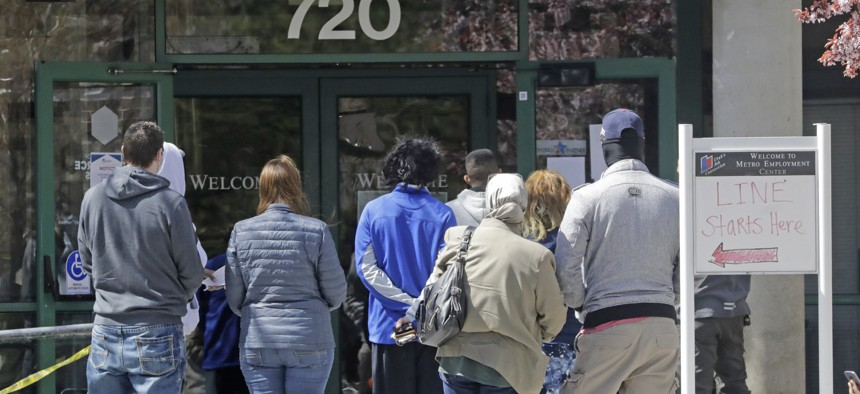 People line up to file for unemployment in Utah. Another 6.6 million people filed for unemployment benefits last week, according to the U.S. Department of Labor, and millions of them lost their health insurance with their jobs.