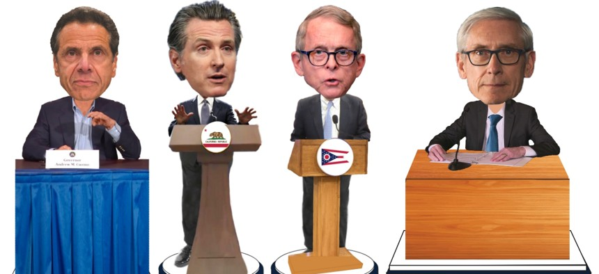The 7-inch bobbleheads, depicting Govs. Andrew Cuomo (New York), Gavin Newsom (California), Mike DeWine (Ohio) and Tony Evers (Wisconsin), are expected to ship in July.