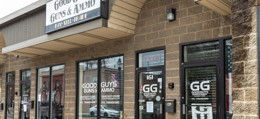 Gun stores in New York like this one are closed. But in many states, they remain open for business.