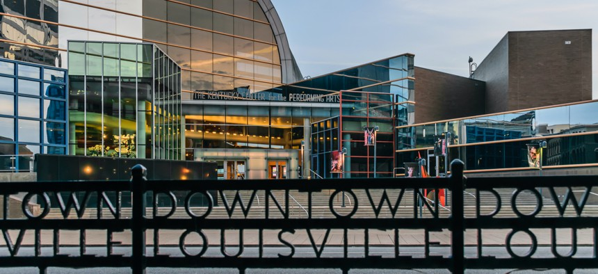 The Kentucky Center for the Performing Arts, home to the Louisville Orchestra, in downtown Louisville, Kentucky.