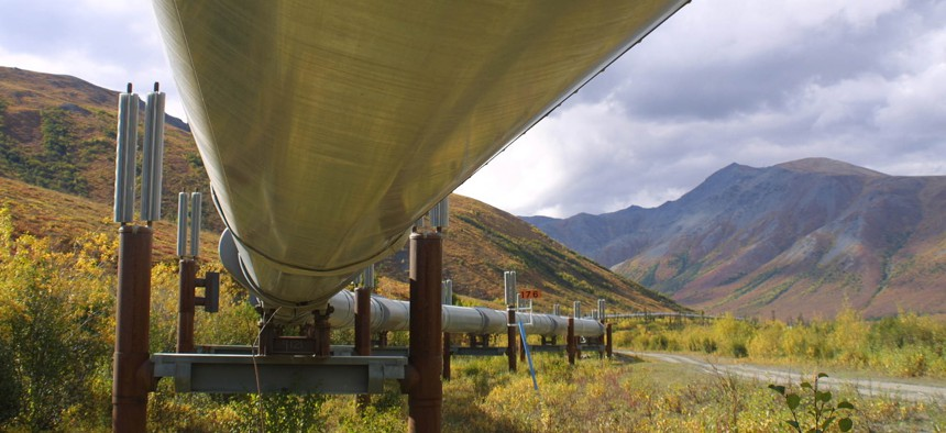 The 800-mile Trans-Alaska pipeline snakes its way across the tundra north of Fairbanks, Alaska, in this undated file photo.
