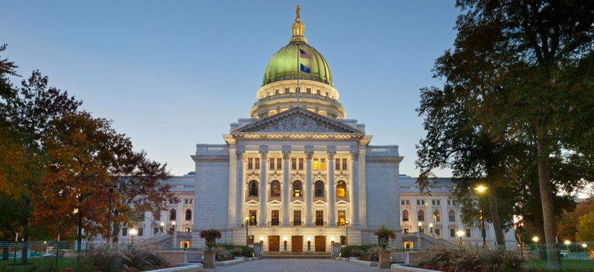 The State Capitol in Madison, Wisconsin, where the legislature and Supreme Court both meet.