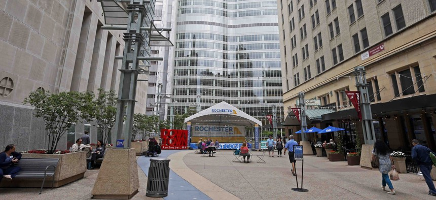 A pedestrian mall leads to the campus of the Mayo Clinic complex on July 2, 2019, in Rochester, Minn.