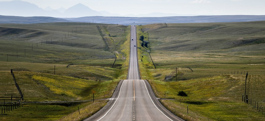 A road passing through Blackfeet Indian Reservation in Browning, Mont.