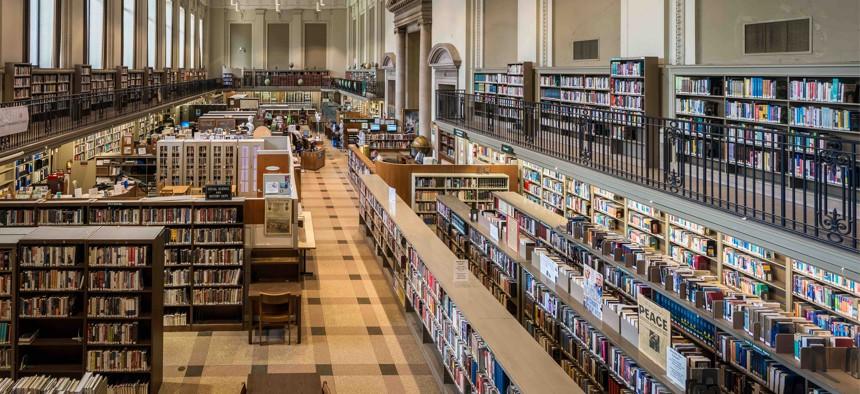 Inside a branch of the Philadelphia library before the coronavirus pandemic.