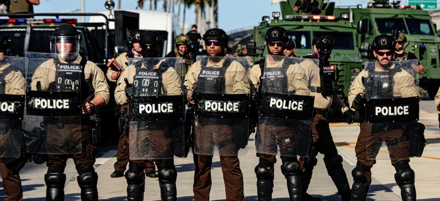 Police at a recent protest in Miami.