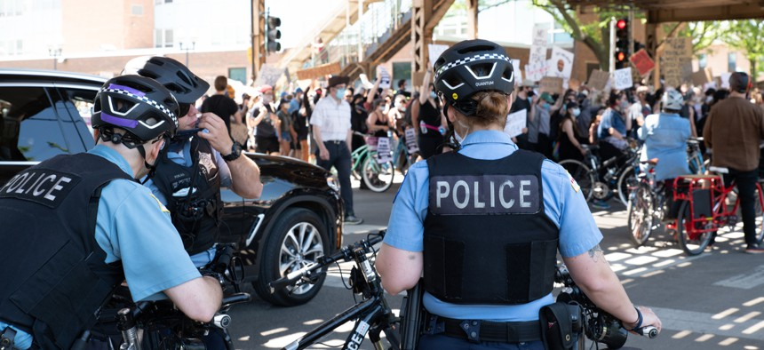 Chicago police at a recent protest. The Illinois Attorney General has called for a state licensing system that would make it easier to decertify police who engage in misconduct.