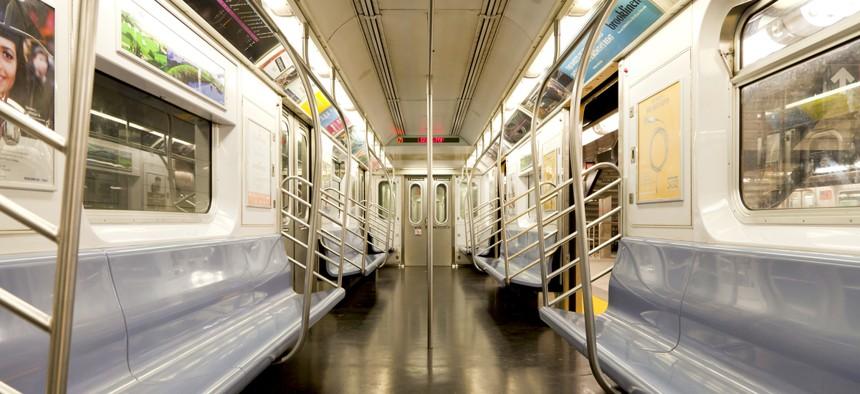 An empty New York City traincar.