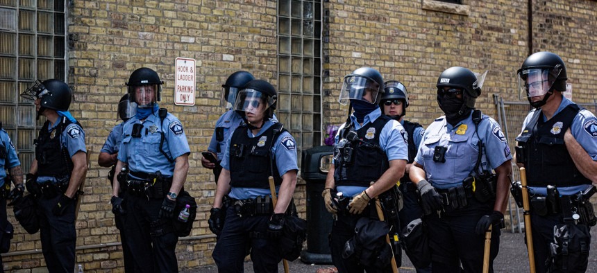 Minneapolis police at a recent protest.