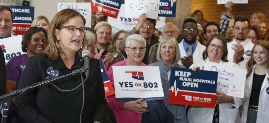 Amber England, who headed the campaign to put Medicaid expansion on the ballot in Oklahoma, speaks before supporters of Yes on 802 Oklahomans Decide Healthcare.