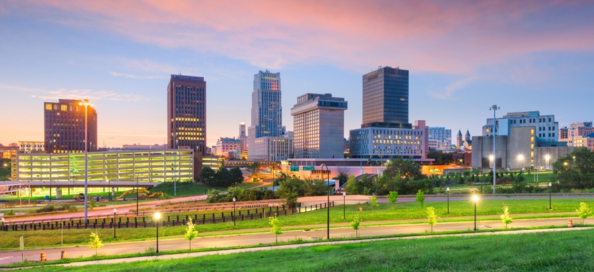 The skyline in Akron, Ohio.