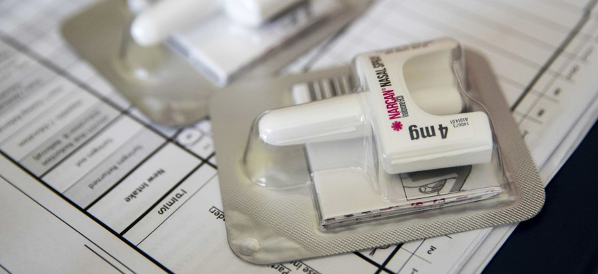 A Narcan nasal device that delivers naloxone. Not enough naloxone is available in Chicago neighborhoods experiencing surging opioid overdoses.