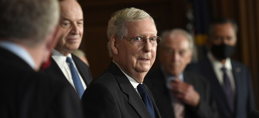 Senate Majority Leader Mitch McConnell of Ky., speaks during a news conference on Capitol Hill in Washington, Monday, July 27, 2020, to highlight the new Republican coronavirus aid package.