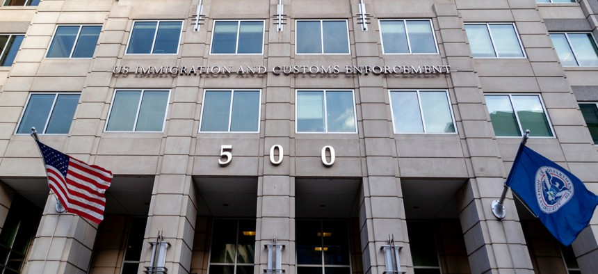 The U.S. Immigration and Customs Enforcement building in Washington, D.C. The Trump Administration has cracked down on immigration including undermining protections of the U nonimmigrant visa.
