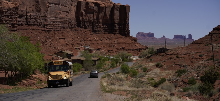 A school bus drives through the Navajo Nation in April.