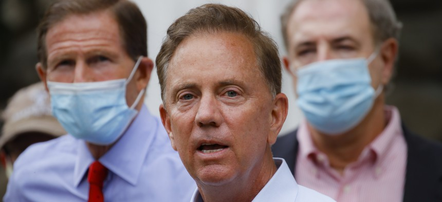 Connecticut Gov. Ned Lamont at a recent news conference.