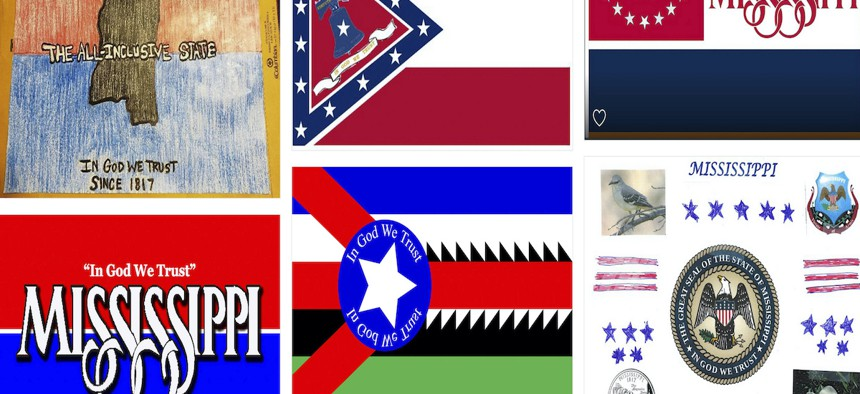 The state received more than 2,000 proposals for its new flag from the public, with design elements ranging from magnolias and stars to a teddy bear and Kermit the frog.