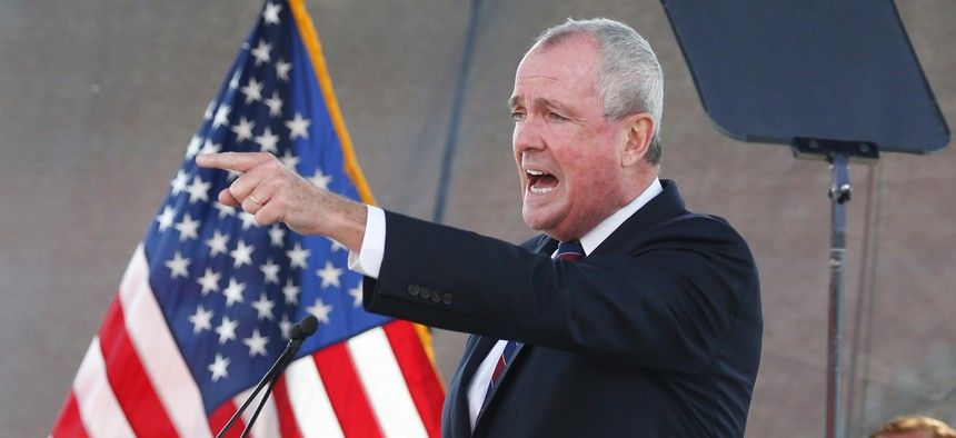 New Jersey Gov. Phil Murphy speaks during his 2021 budget address at SHI Stadium at Rutgers University, Tuesday, Aug. 25, 2020, in Piscataway, NJ.