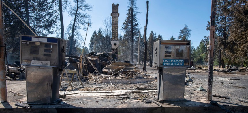 A service station that was destroyed by a wildfire is shown on Sept. 8, 2020, in Malden, Wash. High winds kicked up wildfires across the Pacific Northwest on Monday and Tuesday, burning hundreds of thousands of acres and mostly destroying Malden.