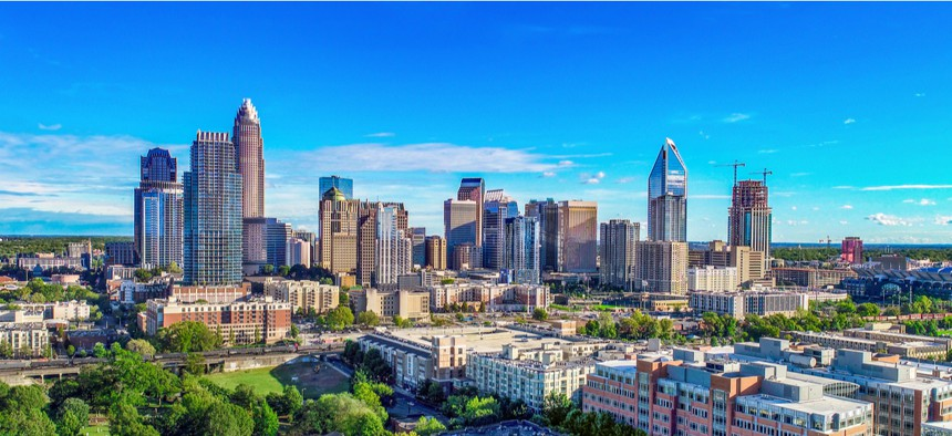 The view of the Charlotte, North Carolina skyline. Charlotte's assistant city manager Taiwo Jaiyeoba is one of five winners for the 2020 Navigator Awards.