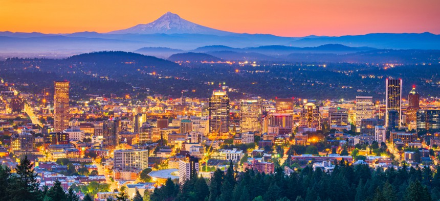 The Portland skyline. Portland is among several cities and states who've increased taxes on high earners to generate revenue for public services.