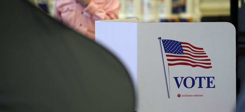 A Harris County election site during the primary runoff election in June 2020.