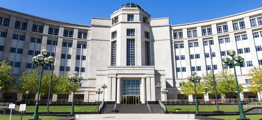 The Hall of Justice building in downtown Lansing is home to the Supreme Court of Michigan.