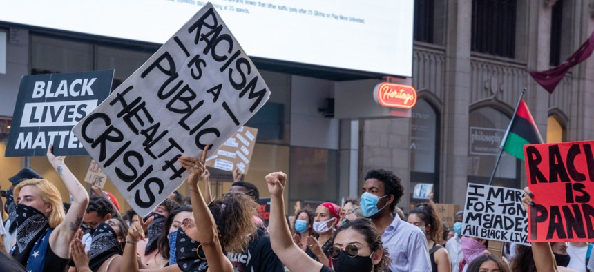 A protest against police brutality in New York City.