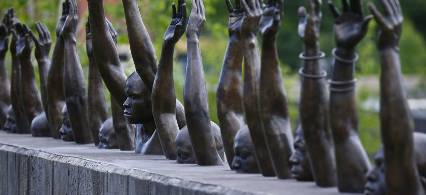 An installation at the National Memorial for Peace and Justice, which honors thousands of people killed in lynchings. The site was established in Montgomery, Alabama in 2018.