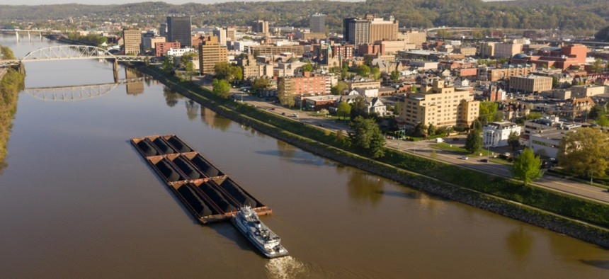 A barge moves coal through Charleston, West Virginia.