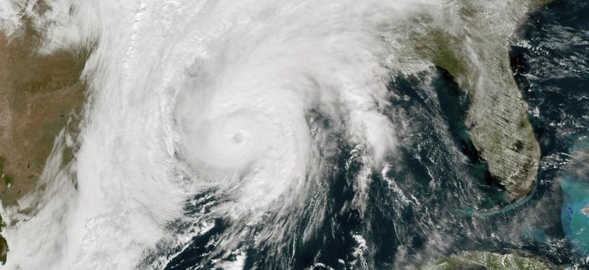 A satellite image taken on Oct. 28, 2020 shows Hurricane Zeta in the Gulf of Mexico nearing Louisiana.