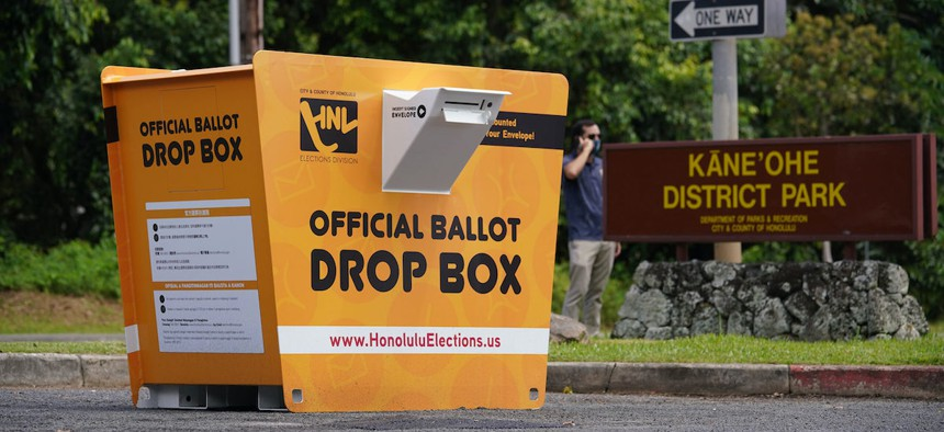 Washington state-based Laserfab, Inc. has more than 700 ballot drop boxes in the field in 13 states, including this one, in Honolulu.