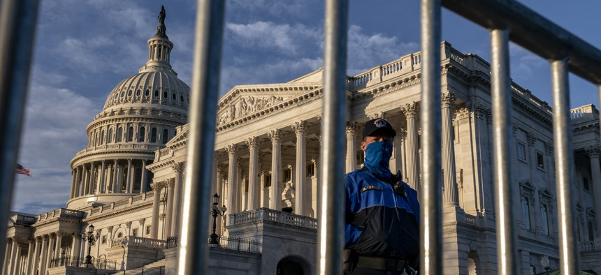 The Senate side of the U.S. Capitol is seen on the morning of Election Day, Tuesday, Nov. 3, 2020, in Washington.