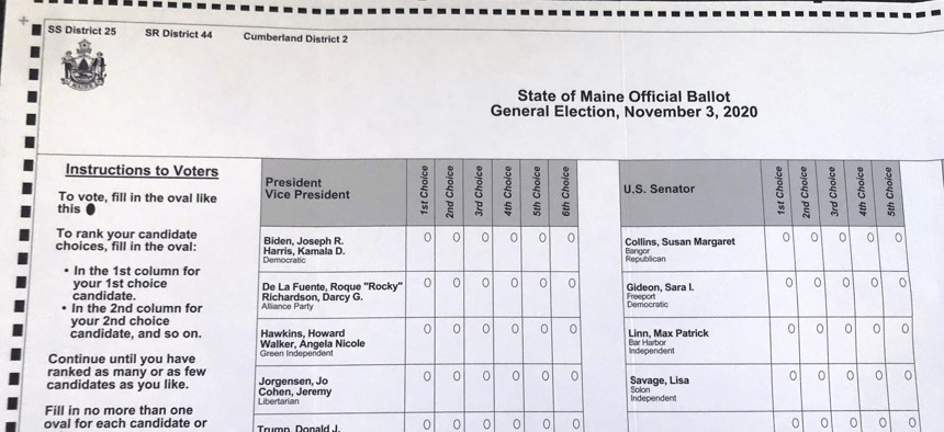 This absentee ballot for the 2020 Maine general election, photographed on Oct. 22, 2020 in Falmouth, Maine, shows how Maine voters are allowed to rank presidential and Senate candidates in order of ranked choice preference.