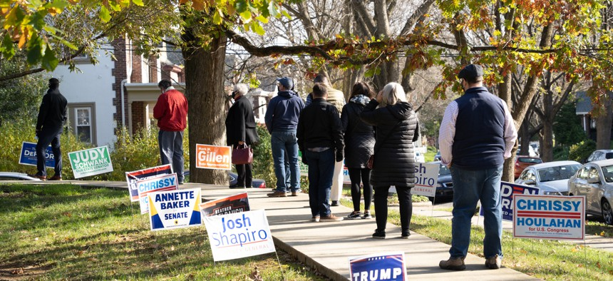 Voters stand in line on Election Day in Pennsylvania.