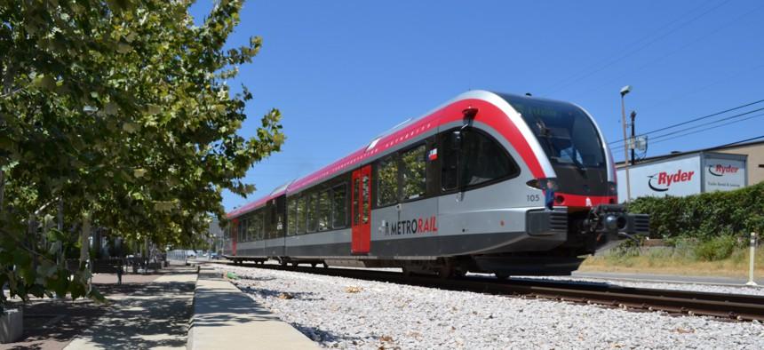 A Capital Metro train in East Austin.