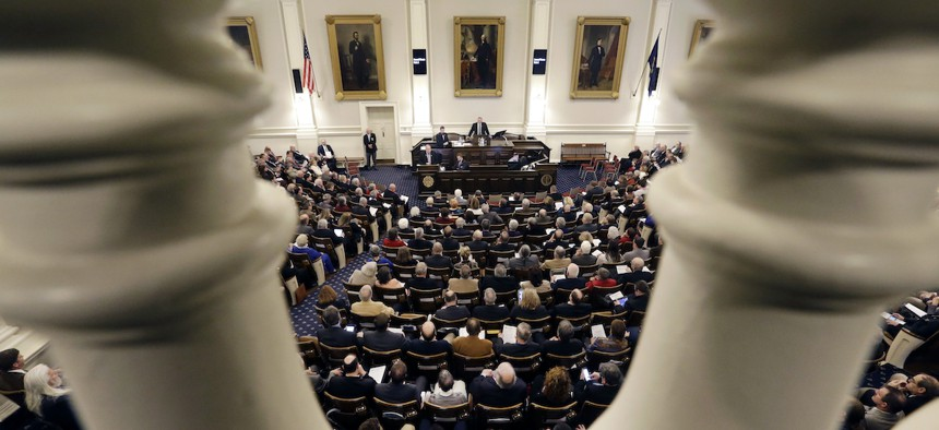 The New Hampshire House of Representatives, pictured here in 2017, flipped to Republican control in the 2020 elections.
