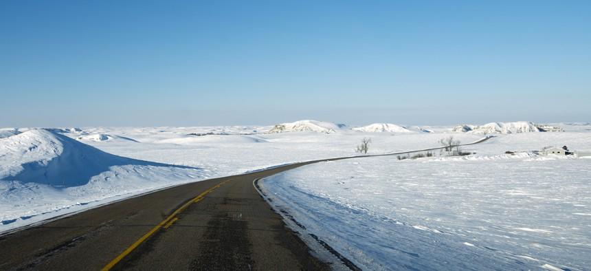 A highway near Bismarck, North Dakota.