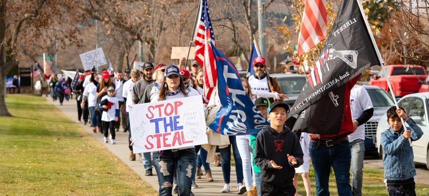 Trump supporters rally in Montana after the election.