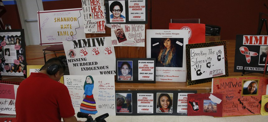 A memorial for missing and murdered Indigenous women in Concho, Oklahoma.