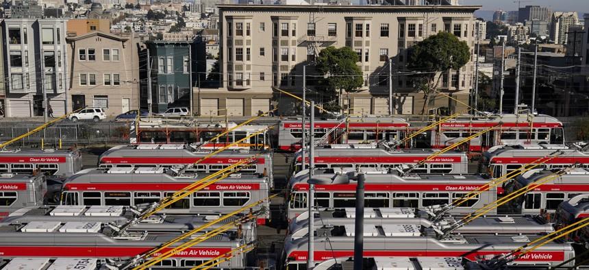 Muni buses are shown at a San Francisco Municipal Transportation Agency yard during the coronavirus outbreak in San Francisco on Nov. 16, 2020. (
