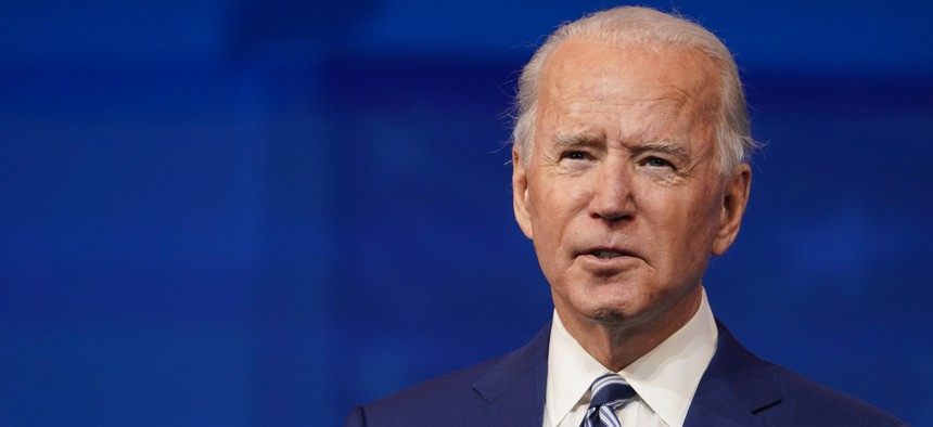 President-elect Joe Biden speaks at The Queen theater in Wilmington, Del. on Dec. 9, 2020.