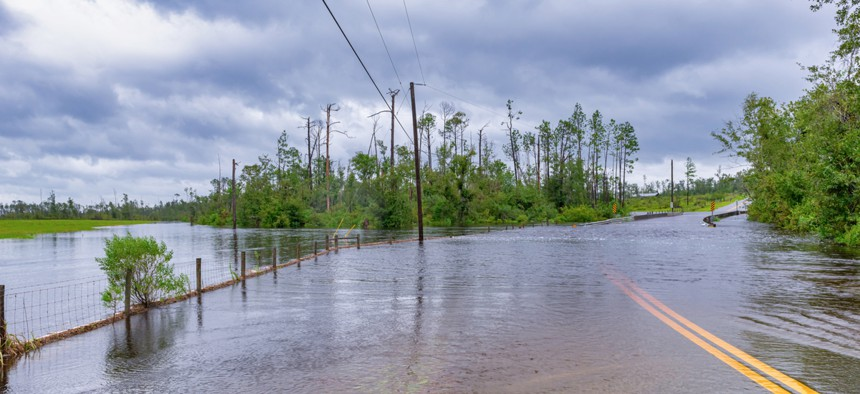 Flood waters from Hurricane Sally in Florida. Black and Brown communities continue to bear the brunt of disaster impacts.