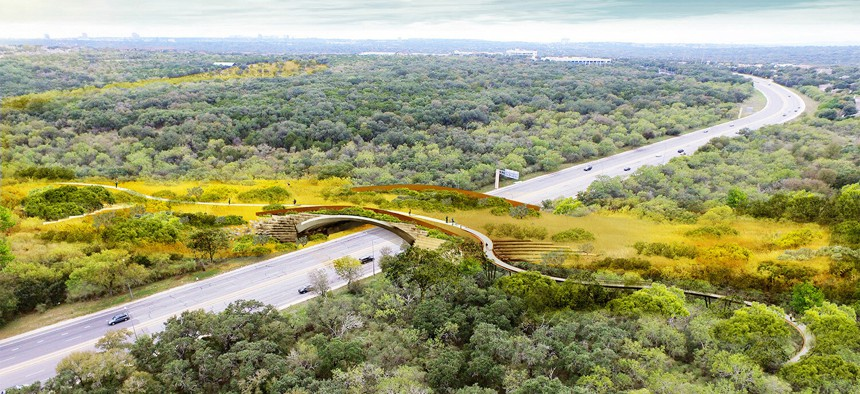 A rendering of what the land bridge over Wurzbach Parkway will look like once native trees and grasses have fully matured.